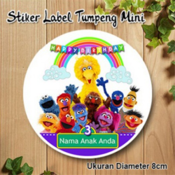 Stiker Label Souvenir Ulang Tahun Tumpeng Mini DLL edisi Elmo and Friends