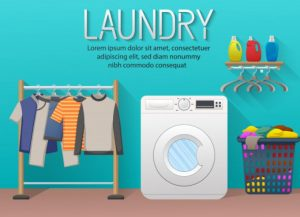 background banner laundry service with laundry room elements