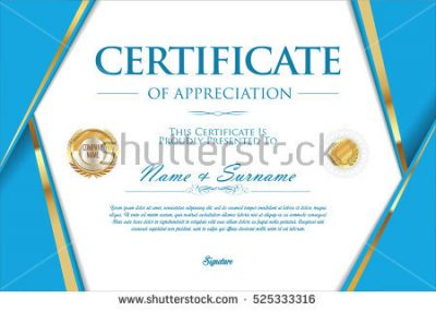 certificate design background png biru cerah with gold