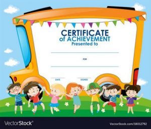 certificate template with children and school bus vector