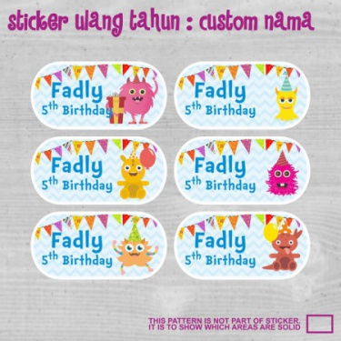 sticker label souvenirs hampers ulang tahun birthday anak