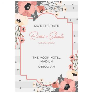 Flower Wedding wedding menu Template