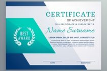 blue certificate design template in geometric shape